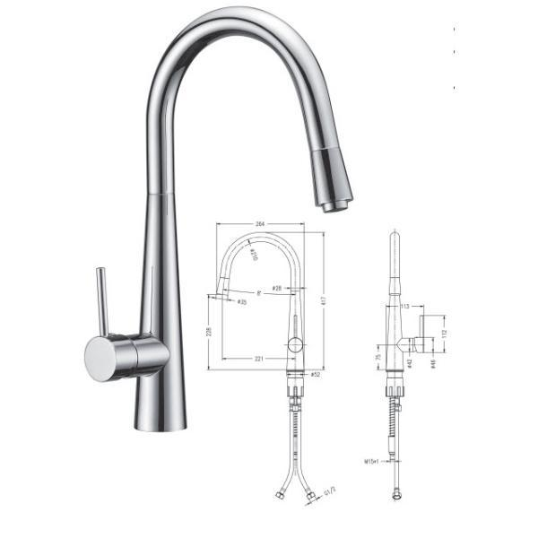 Pull-out Kitchen Sink Mixer - 029.100.009