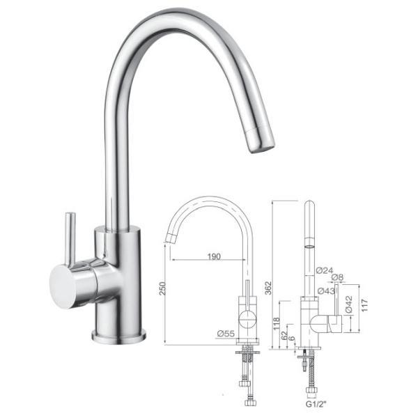 Single Lever Kitchen Mixer - 029.100.004