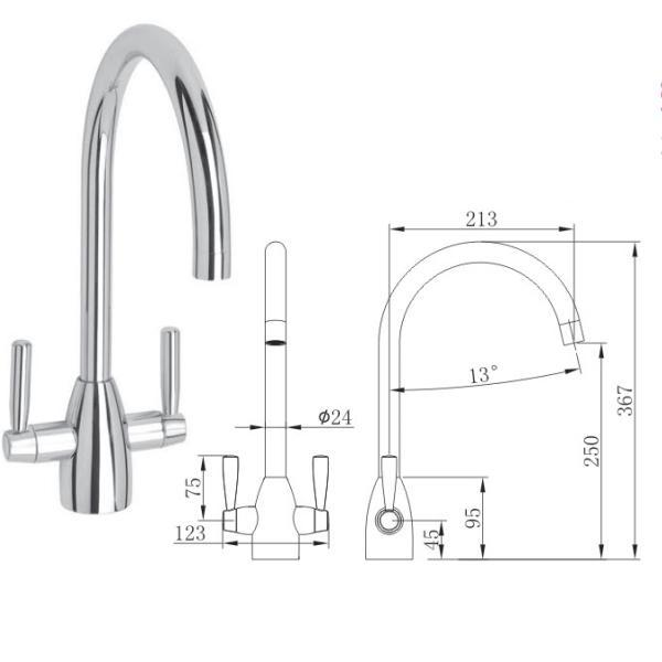 Dual Lever Kitchen Sink Mixer - 029.100.008