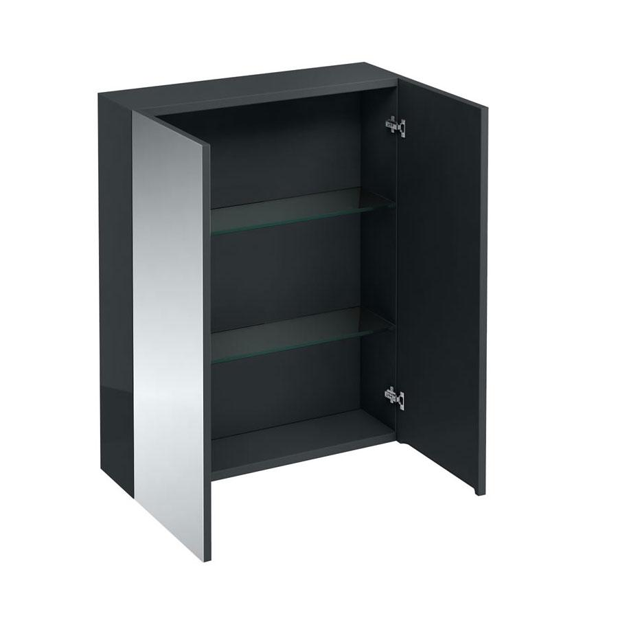 Britton D30 Anthracite Grey Mirrored Cabinet 600x750mm - AC40G