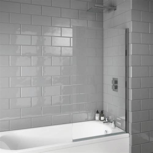 Square Edge 6mm Bath Screen 800 x 1400mm - LS099N