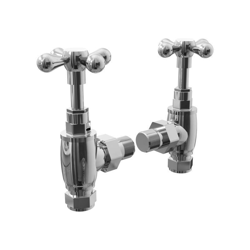 Traditional Angled Crosshead Radiator Valves With Cover Plates - ACHVCP
