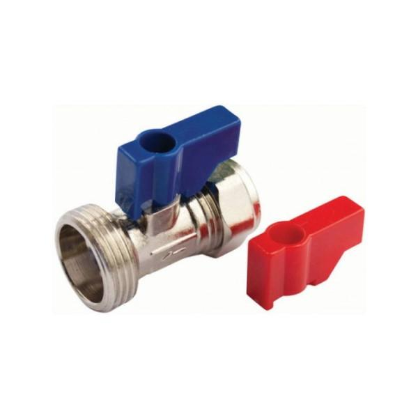 15mm CP Straight Washing Machine Valve Red/Blue - 048.113.003
