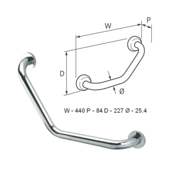 Angled Grab Rail (Chrome Plated Brass) - 029.63.003