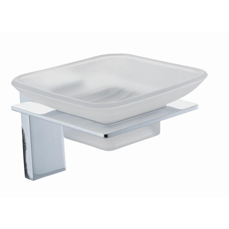 Holly Frosted Glass Soap Dish & Holder - HLY002