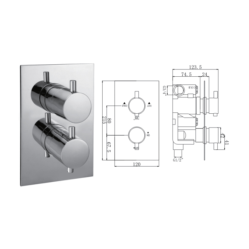 Madison Concealed Thermostatic Shower Valve, 2 Handle 1 Outlet - 029.36.003