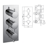 Madison Concealed Thermostatic Shower Valve, 3 Handle 3 Outlet - 029.36.009