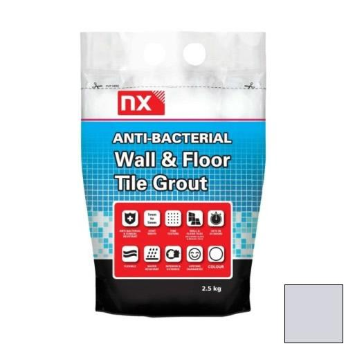NX Anti-Bacterial Wall & Floor Tile Grout - Silver Grey 2.5kg - NX02KGGTNMSGM06