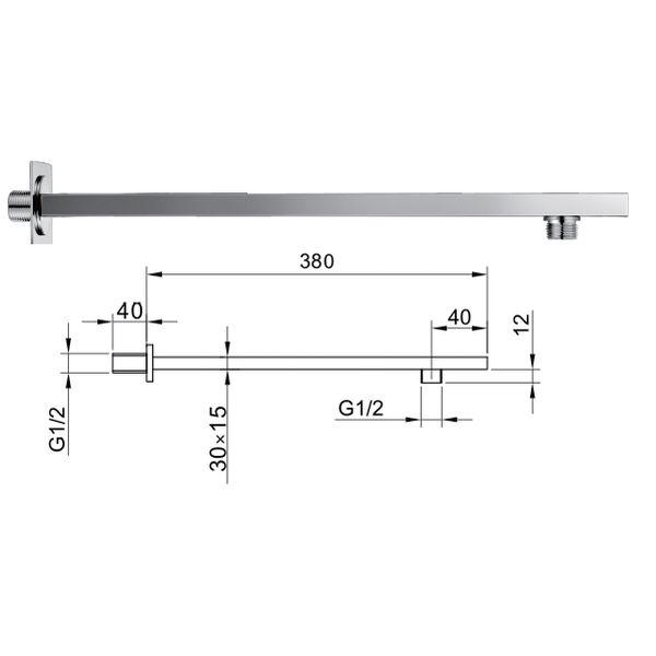 380mm Rectangular Wall Mounted Shower Arm Stainless Steel - 029.49.004