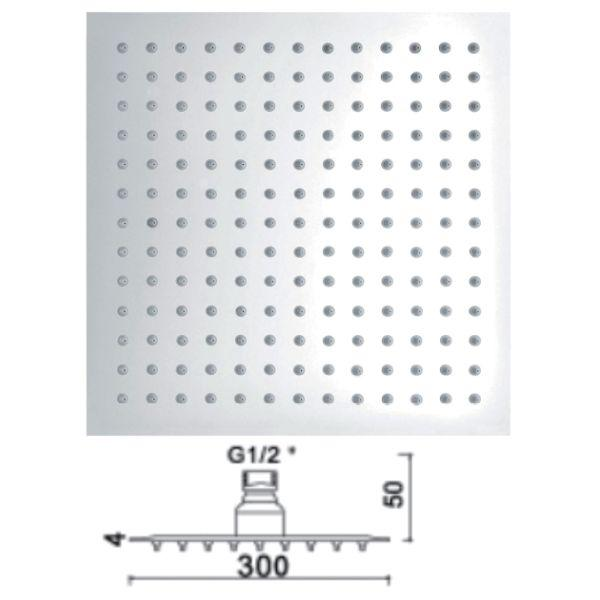 300mm Ultra Slim Square Shower Head - 029.48.006