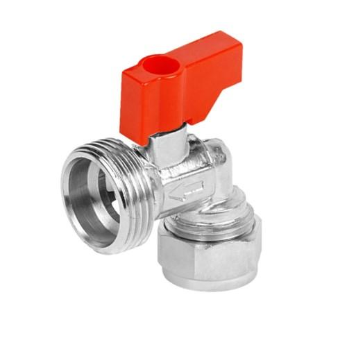 15mm CP Angled Washing Machine Valve with Red Handle - 048.113.005