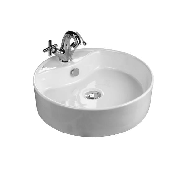 Valadares Dallas Round Counter Top Basin 460mm 1TH - VADABSWH1