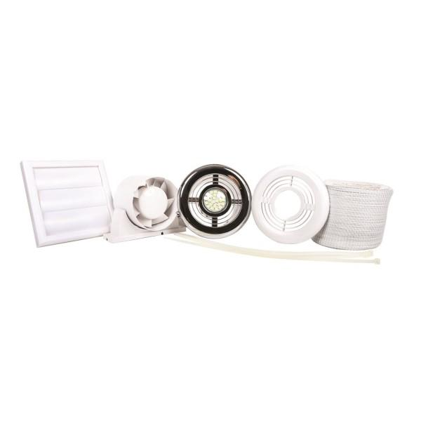 Airflow Aura In-Line Shower Fan Kit with Timer and LED Downlight 4000k - 9041421