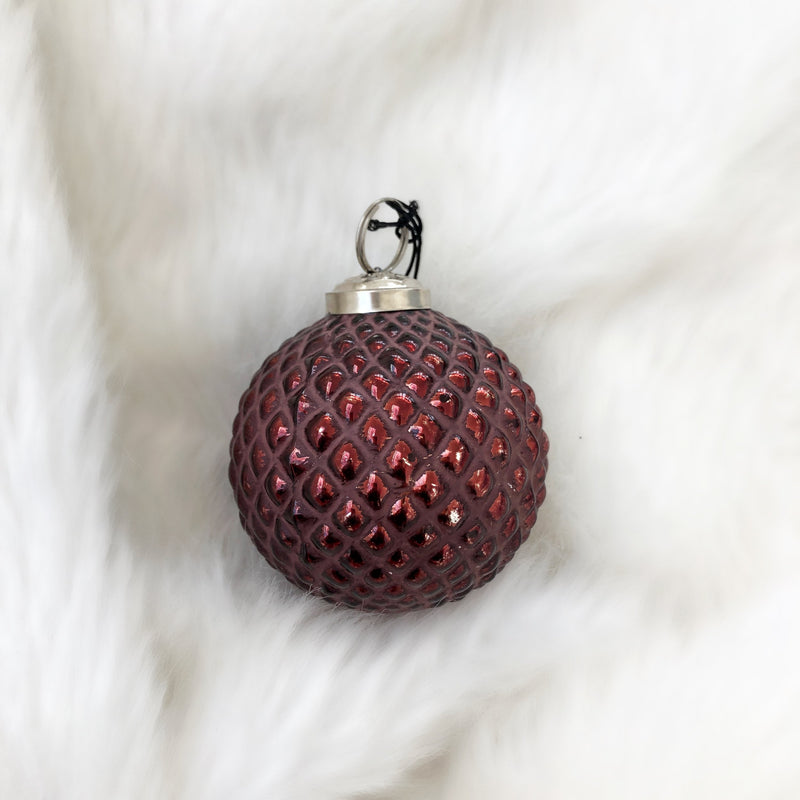 Burgundy Glass Pattern Bauble - Options available