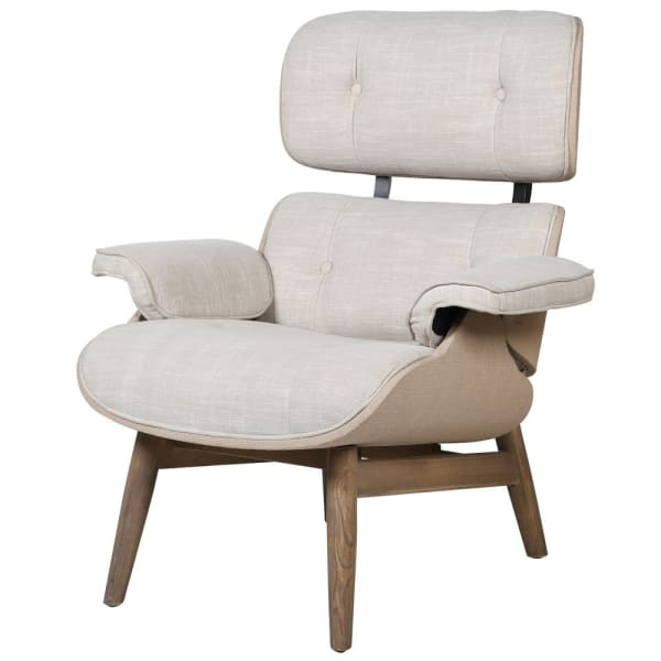 Cream Linen Chair with Footstool