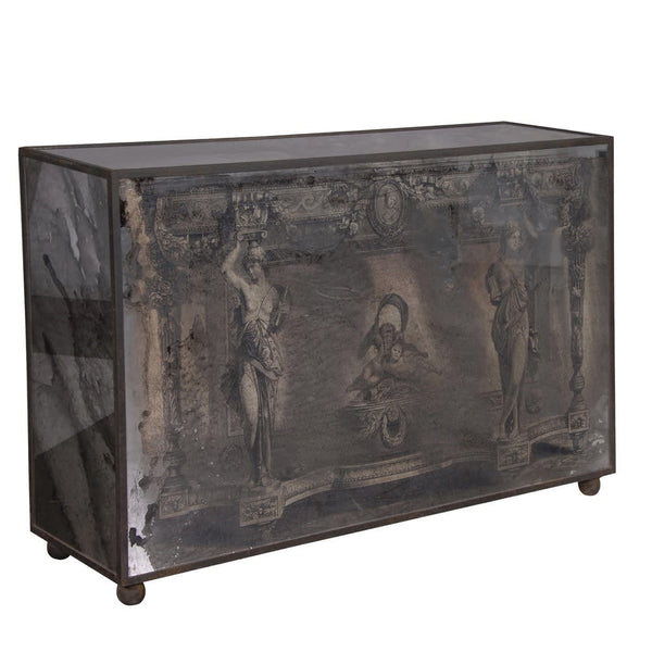 Roman Patterned Glass Mirrored Console