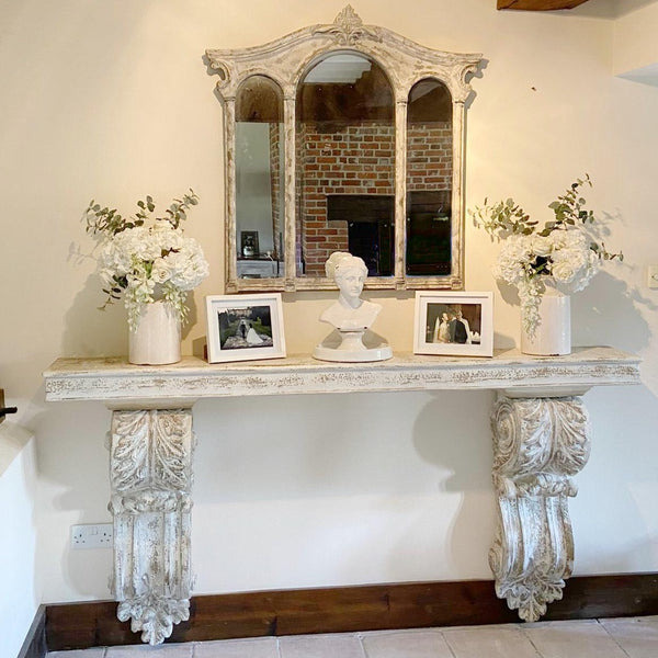 Distressed Corbel Wall Console Table