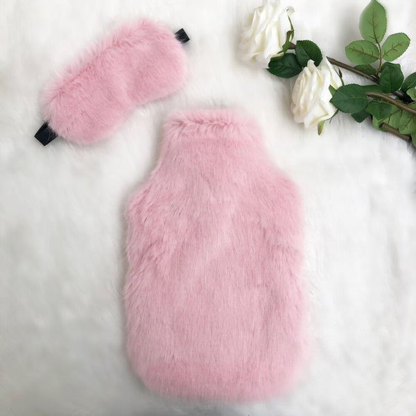 Raspberries and Cream Luxe Faux Fur Hot Water Bottle - Options Available