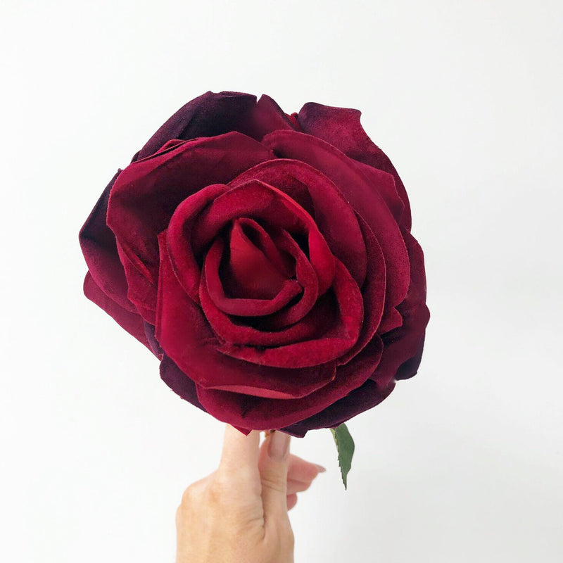 Deep Red Rose Open Velvet Stem