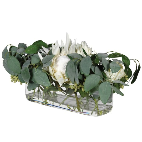 Eucalyptus and Protea pre-set in Oblong Glass Vase