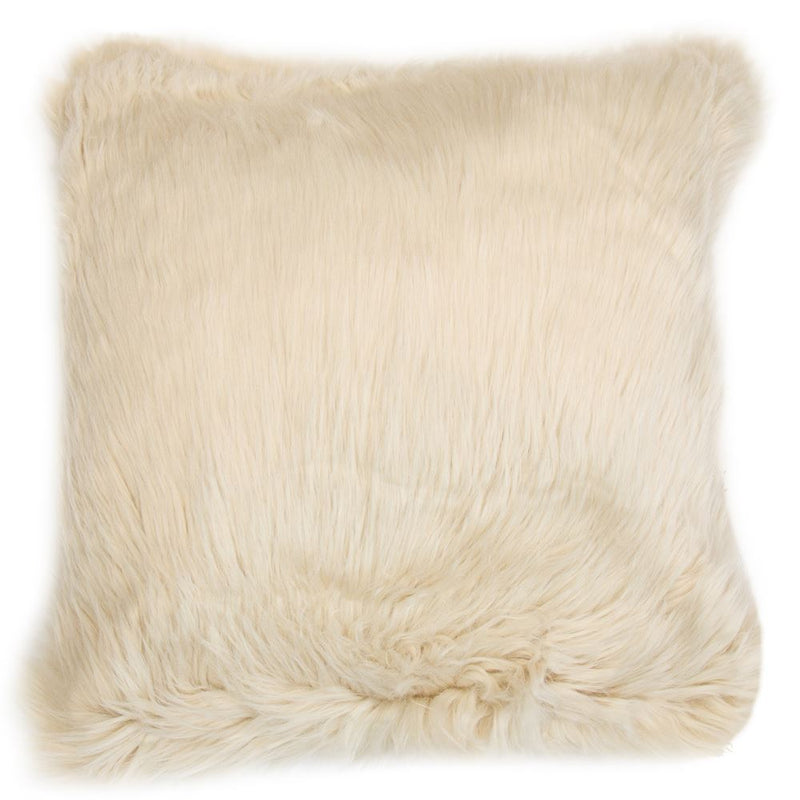 SET OF 2 NUDE FAUX FUR CUSHIONS