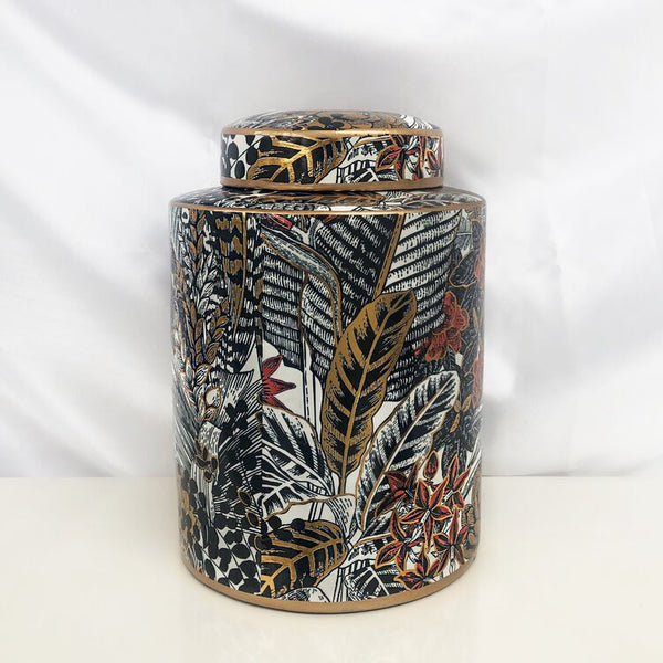 Feather and Leaf Print Lidded Jar