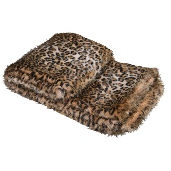 Luxe Light Leopard Print Faux Fur Throw