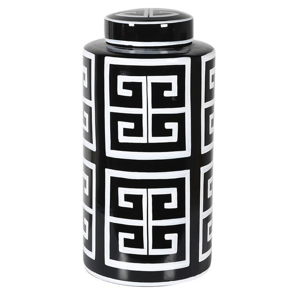 LARGE MONOCHROME AZTEC PRINT JAR