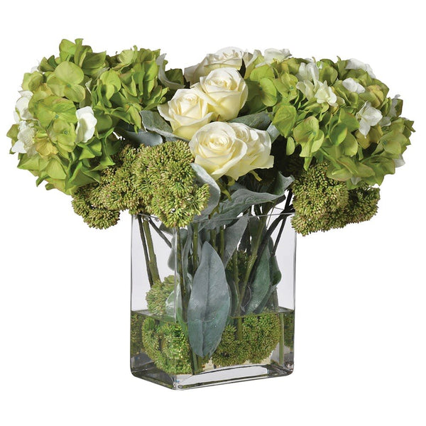 Lime Cream Hydrangea Rose Arrangement Pre-set in Vase