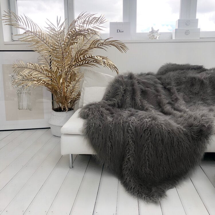 Long Silver Grey Faux Fur Throw