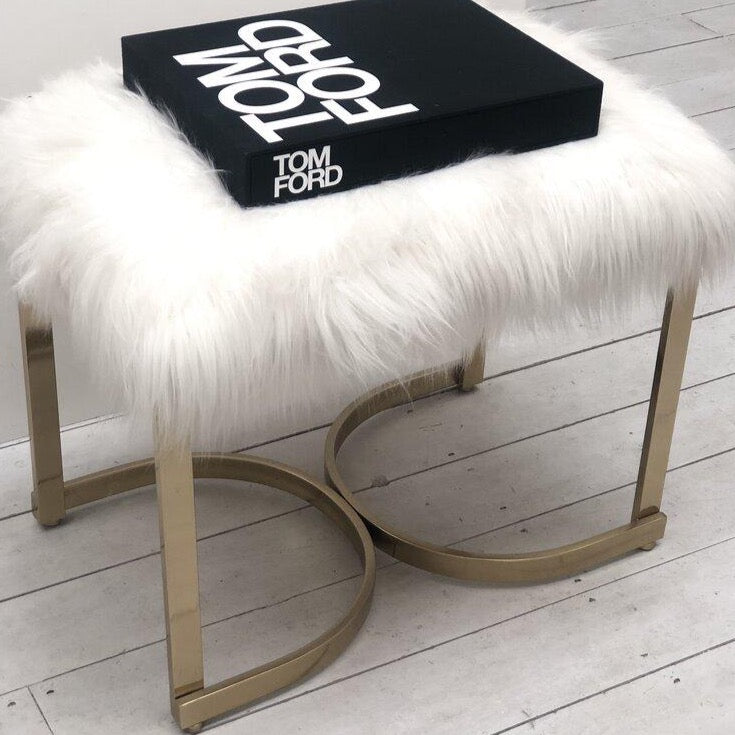 Luxe White Faux Fur Curve Leg Stool