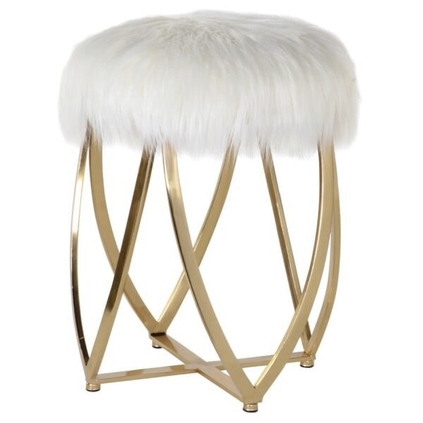 Luxe White Faux Fur Gold Stool