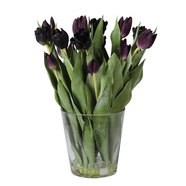 Mixed Black Tulips pre-set in Glass Vase