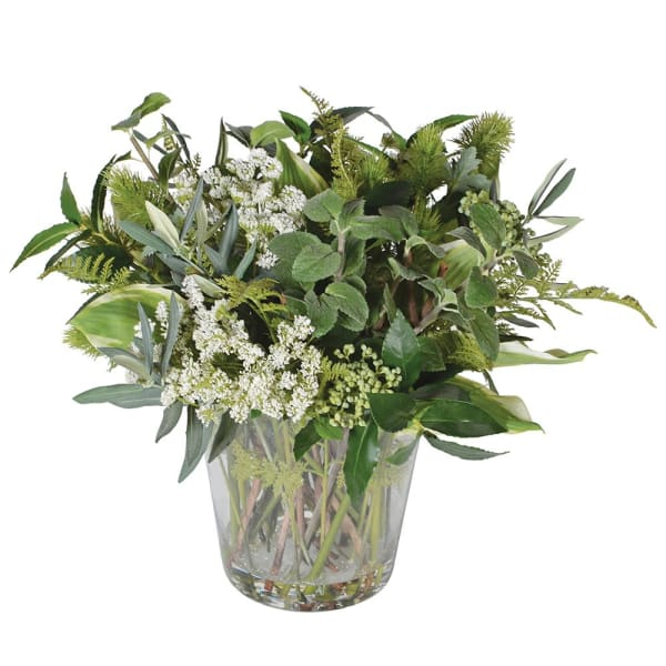 Mixed Foliage Arrangement pre-set in Glass Vase