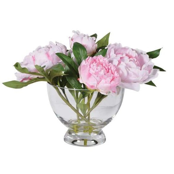Pink Peonies pre-set in Glass Footed Bowl