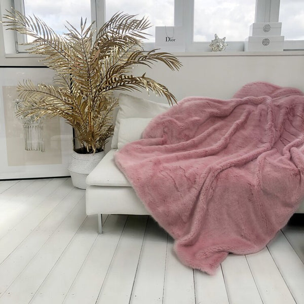 Raspberries and Cream Pink Faux Fur Throw