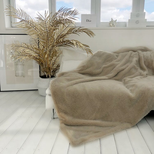 Rose Nude Faux Fur Throw