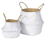 Set of 2 White Grass Baskets