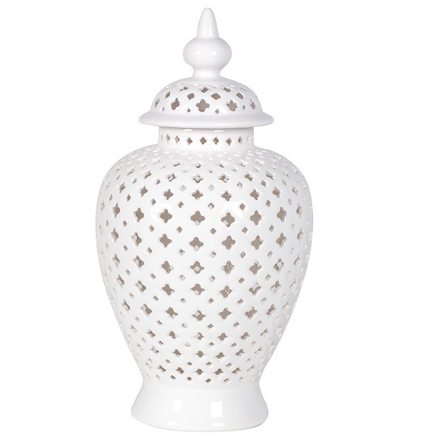Large White Pierced Ginger Jar