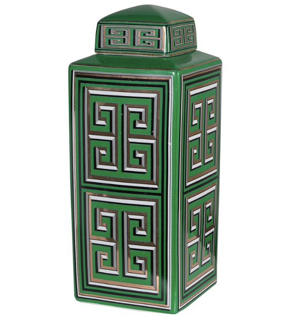 Large Green Pattern Decorative Storage Jar