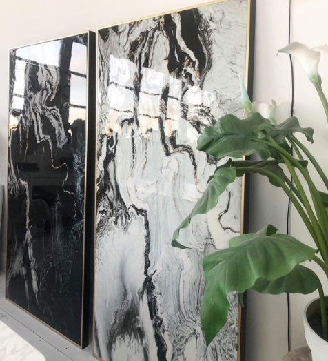 Large Black Marble Effect Canvas Print