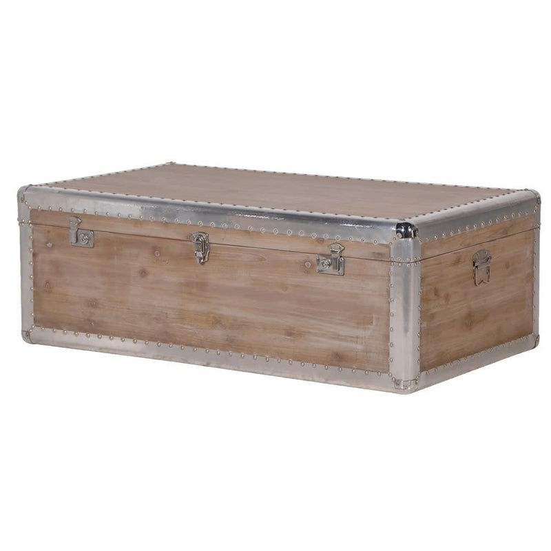 Silver Trim Studded Trunk Coffee Table Chest