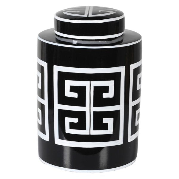 Small Monochrome Aztec Print Jar