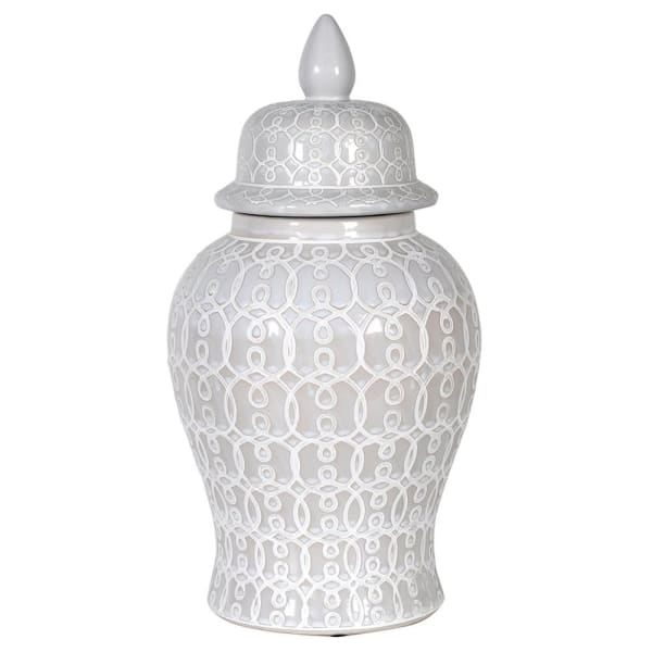 Small White Patterned Ginger Jar