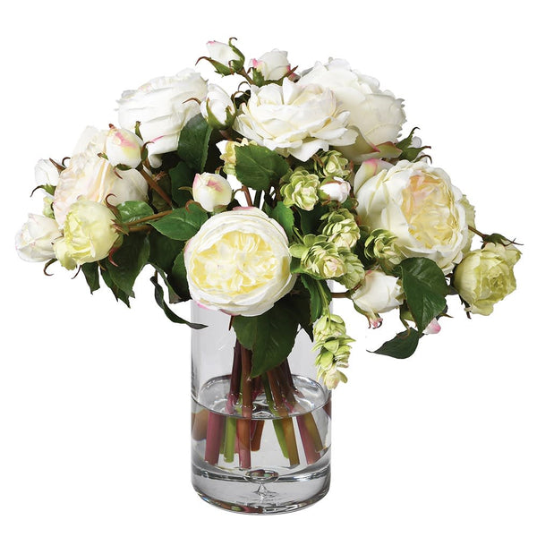 White English Rose and Hops Arrangement Pre-set in Vase