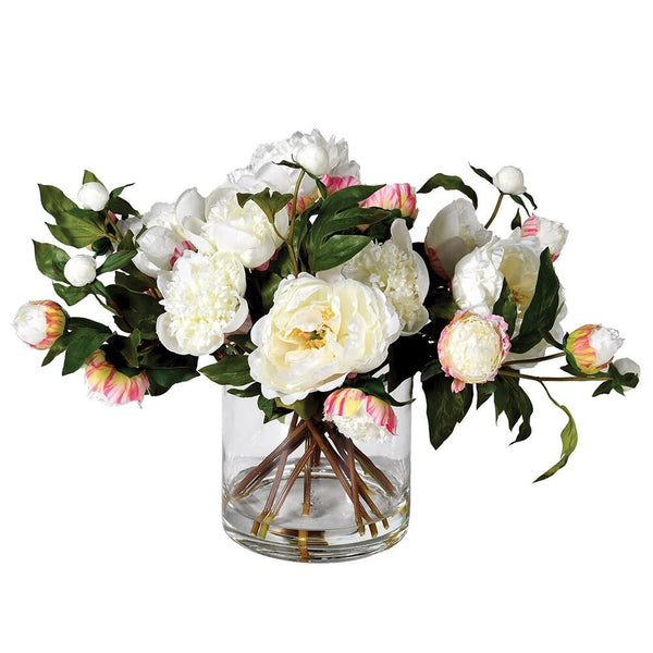 White Hint of Pink Peony Pre-set Arrangement in Vase
