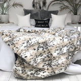 Beige Lynx Faux Fur Throw