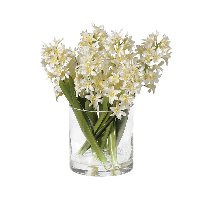 White Hyacinth Arrangement Pre-set in Glass Vase
