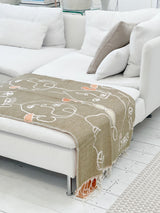 Beige and Blush Faces Reversible Throw