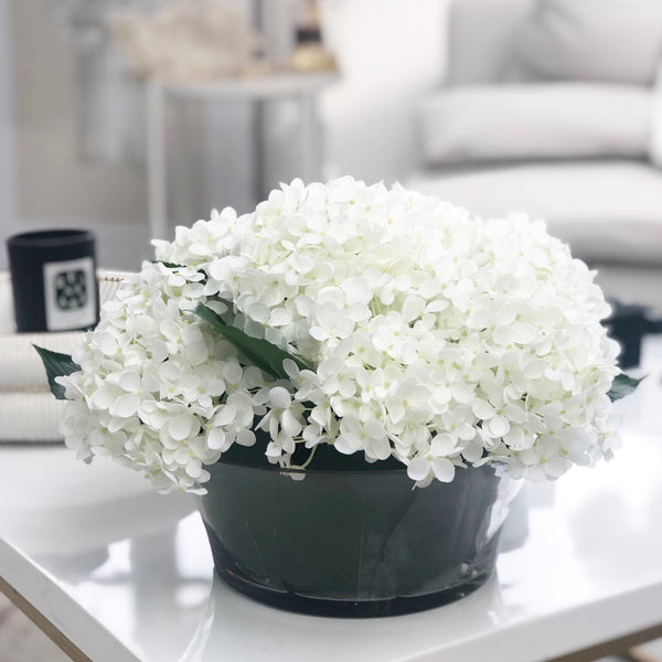 White Hydrangea Arrangement pre-set in Leaf Glass Bowl